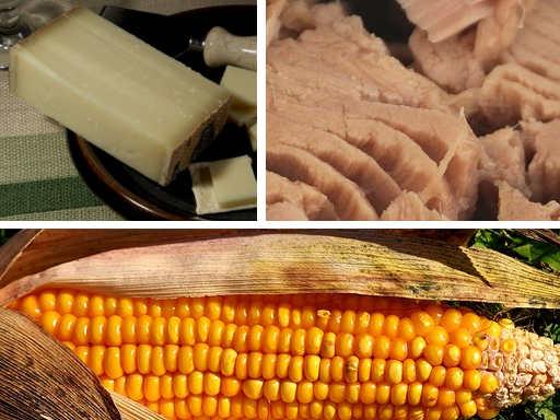 image de thon de fromage et d'un épis de maïs
